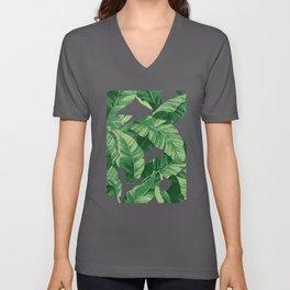 Tropical banana leaves IV Unisex V-Neck
