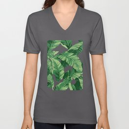 Tropical banana leaves IV Unisex V-Ausschnitt