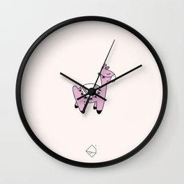 Sweet kawaii Llama dreams kids winter alpaca illustration pink girls Wall Clock