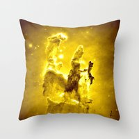 nebula Throw Pillows featuring Yellow neBUla  by 2sweet4words Designs