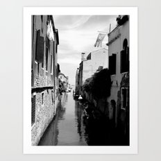 Venice canal in black and white 2 Art Print