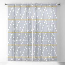 Gold and grey zigzag Sheer Curtain