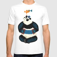 Panda Piazzolla and The Trumpet Bird Mens Fitted Tee MEDIUM White