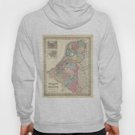 Vintage Map of Holland and Belgium (1856) Hoody