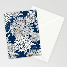 Leaves and Blooms, Blue and Gray Stationery Cards
