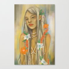 Girl with Flowers Canvas Print