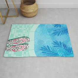 Go Time - resort palm springs poolside oasis swimming athlete vacation topical island summer fun Rug
