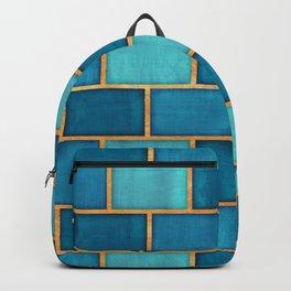 Ocean Blue Watercolor Subway Tiles Backpack