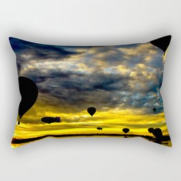 Aerostatic balloons at sunrise, over the lake. Rectangular Pillow
