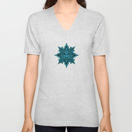 Ancient Blue and Black Aztec Sun Mask Unisex V-Neck