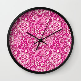 Lace on Pink Wall Clock