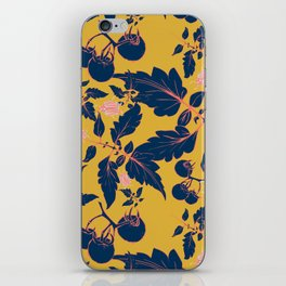 Tomatos and beetles - Pantone palete - yellow, blue, coral and gray iPhone Skin