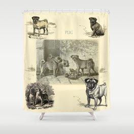 PUG DOGS Illustration Shower Curtain