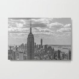 New York City Empire State Building Black and White Metal Print