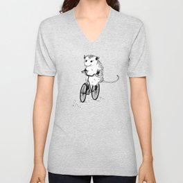 Opossums bike, too Unisex V-Neck