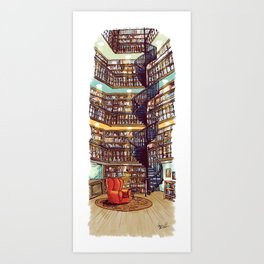 The Library - Archie of Outlandish Art Print