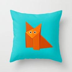 Cute Origami Fox Throw Pillow