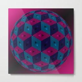Spherized Pink, Purple, Blue and Black Hexa Metal Print