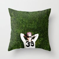 niall horan Throw Pillows featuring Niall Horan by Becca / But-Like-How
