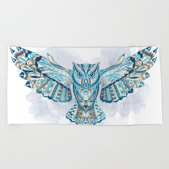 Blue Ethnic Owl Beach Towel