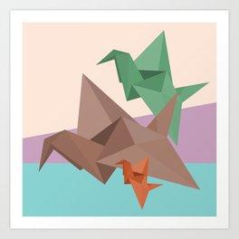 PAPER CRANES (Origami abstract birds animals nature) Art Print