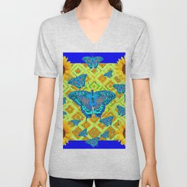Blue Moths Sunflowers Lime Green Spring Art Unisex V-Neck