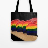 bread Tote Bags featuring Rainbow Bread by Tracy66