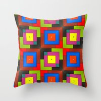 frames Throw Pillows featuring Colorful Frames by Sara Dowling