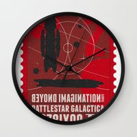 battlestar galactica Wall Clocks featuring Beyond imagination: Battlestar Galactica postage stamp  by Chungkong