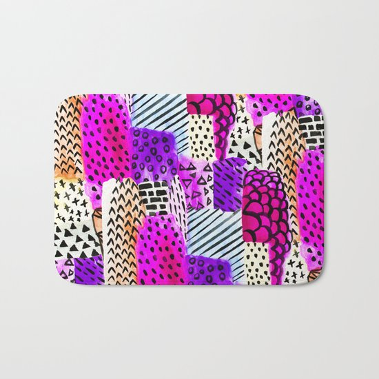 Modern pink watercolor abstract geometric hand painted pattern Bath Mat