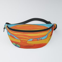 watercolor eroded rock in desert with prickly pear cacti Fanny Pack