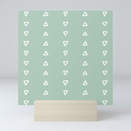 Soft Mint Triangle Stripes Mini Art Print
