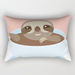 Sloth in a blue cup coffee, tea, Three-toed slot Rectangular Pillow