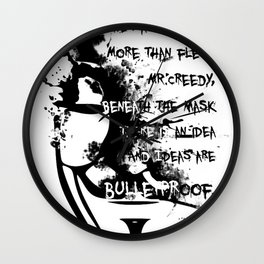 V for Vendetta Splat image with quote Wall Clock