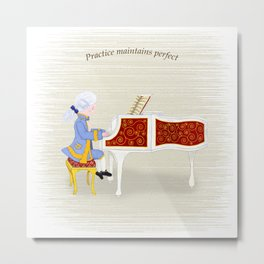 Young Mozart Playing the Piano: Practice Maintains Perfect Metal Print