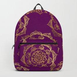 Golden Mandalas on Purple Backpack