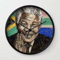 mandela Wall Clocks featuring MANDELA by Stan Kwong