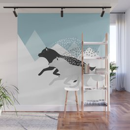 Wolves black and white Wall Mural