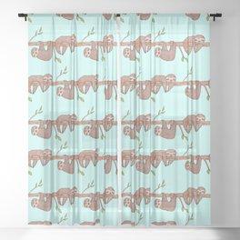Lazy Baby Sloth Pattern Sheer Curtain