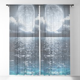 Full Moon over Ocean Sheer Curtain