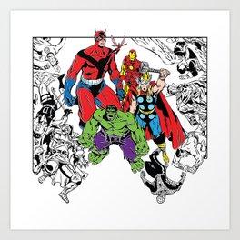 Avenged! Iron Man, Thor, Hulk, and gang Art Print