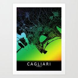 Cagliari, Italy, City, Map, Rainbow, Map, Art, Print Art Print