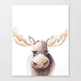 Woodland Animal, Moose, Head, Watercolor, Nursery Canvas Print
