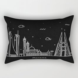 Manama Minimal Nightscape / Skyline Drawing Rectangular Pillow