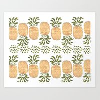 pineapples Art Prints featuring Pineapples by Bouffants and Broken Hearts