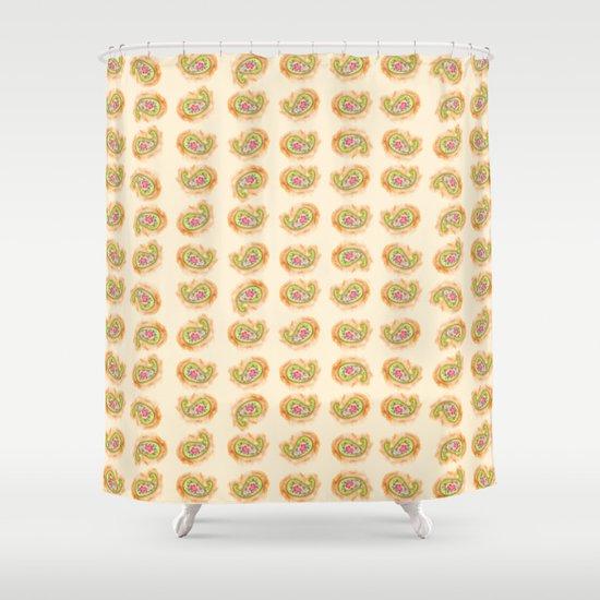 Paisley Watercolor in Tea (tan brown) Shower Curtain