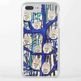 Snow Owl Forest Clear iPhone Case