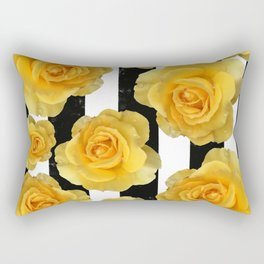 Yellow Roses on Black & White Stripes Rectangular Pillow
