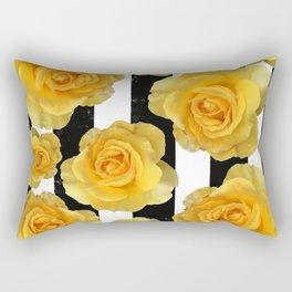 Yellow Roses on Black & White Stripes Rectangular Pillow