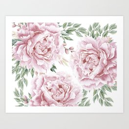 Pretty Pink Roses Floral Garden Art Print